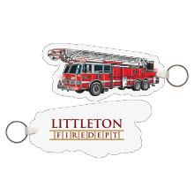 Fire Truck w/Ladder Full Color Key Tag