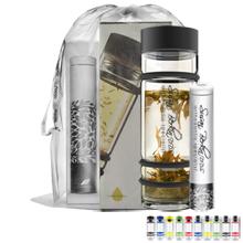 Glass Bumper Bottle & Asobu Tea Tin Gift Set, 14oz.