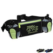 Slick Water Resistant Sports Waist Pack w/ Dual Water Bottles