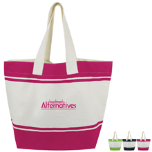 Striped Cotton Tote - Free Set Up Charges!
