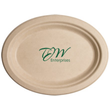 Biodegradable Oval Kraft Paper Plate, 10""