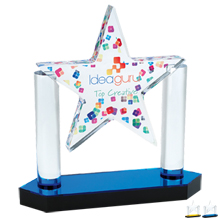 "Floating Star Acrylic Award, Full Color, 8-1/8"" x 8-1/8"""