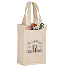 Heavyweight Cotton Canvas Two Bottle Wine Tote