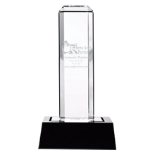Vertical Highlight Crystal Award with Lighted Wood Base, 9-5/8""