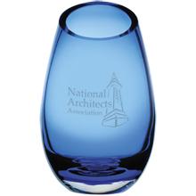 "Cairo Blue Glass Vase, 9"""