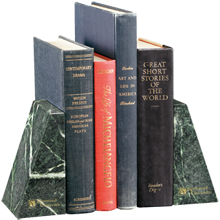 """Verde Marble Bookends, 5-7/8"""""""
