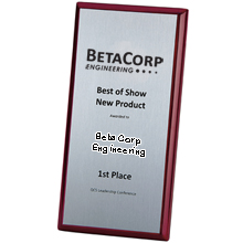 "Connection Rosewood & Aluminum Award Plaque, 6"" x 12"""
