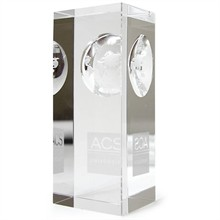 Atlas Pillar Crystal Award, Medium, 4""