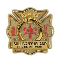 Junior Firefighter Badge, Maltese Cross, Clip Backing, Custom