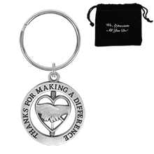 Thanks for Making a Difference, Heart  Appreciation Swivel Keychain, Stock