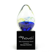Grande Egg Art Glass Award with Base, 9""