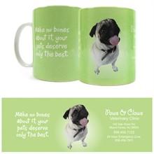 Pug Design, Full Color  Stoneware Mug, 11oz.