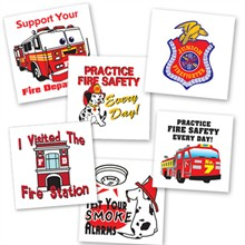 Fire Safety Assortment Temporary Tattoo, Stock