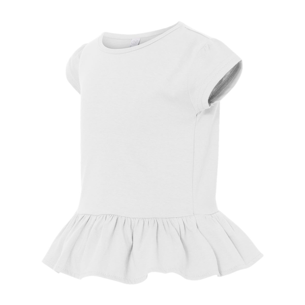 Rabbit Skins® Ringspun Cotton Ruffle Toddler Girls' T-Shirt