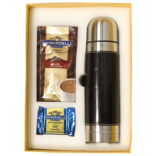 Ghirardelli® Holiday Gift Set with Leather Wrapped Vacuum Bottle
