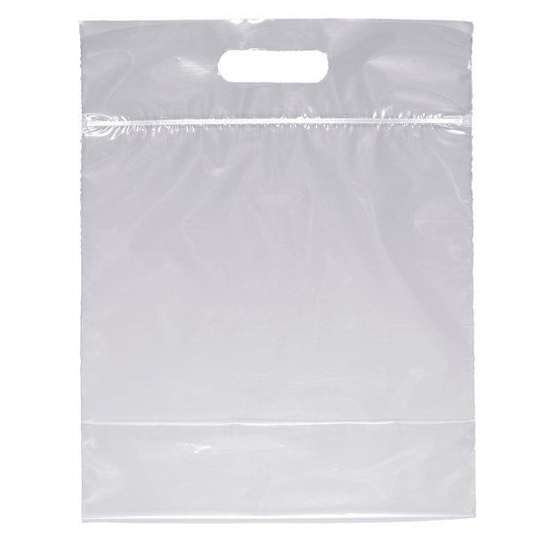 """Zip Closure Die Cut Handle Plastic Bag, 12"""" x 12"""""""