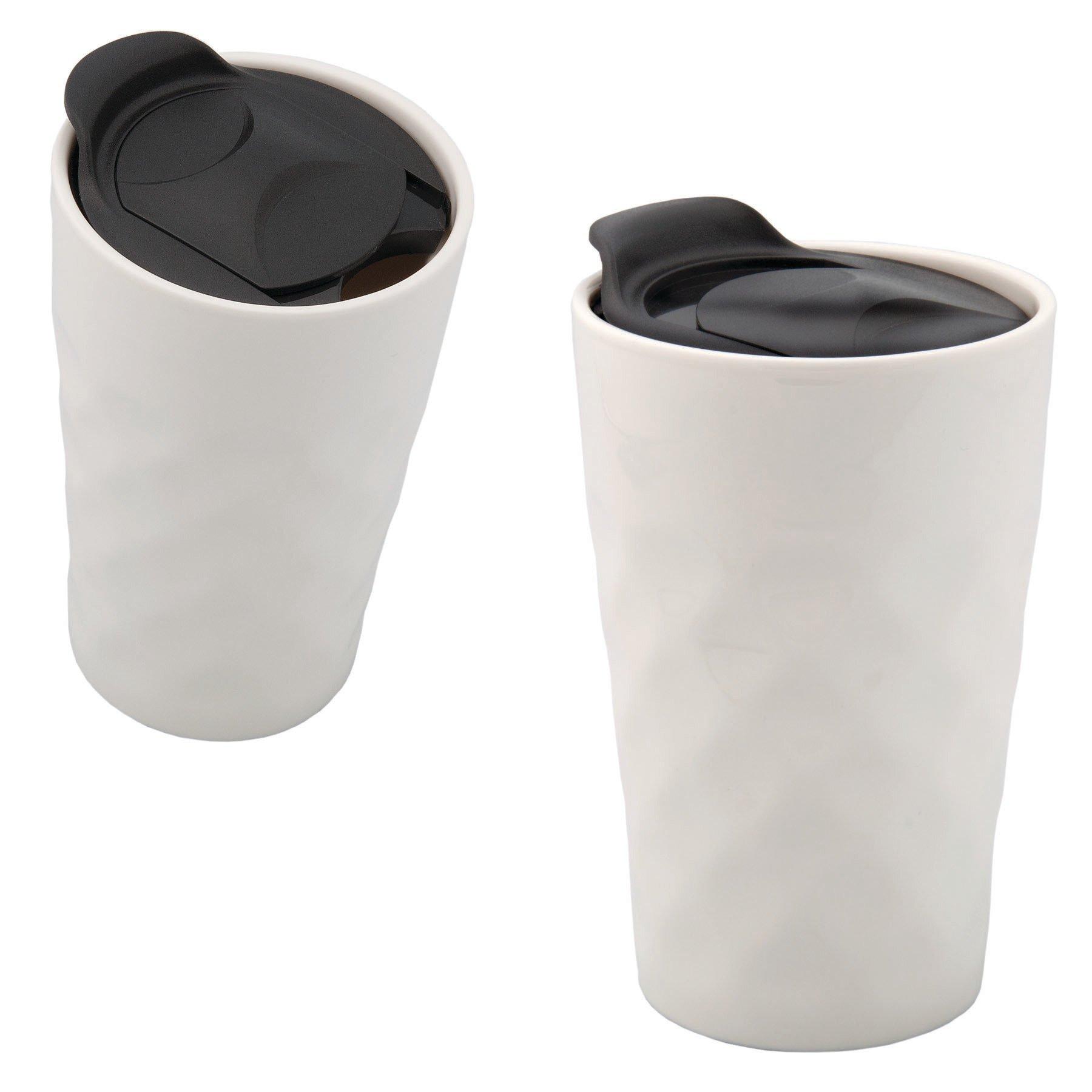 Golf Ball Dimpled Ceramic Travel Mug, 10oz.