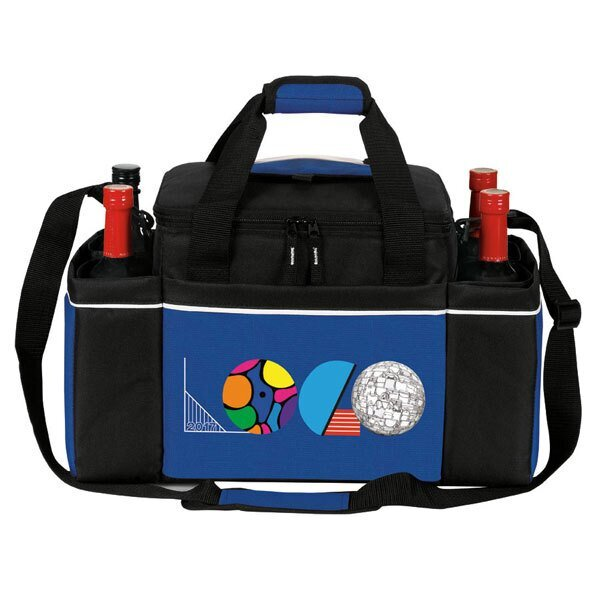 Easy Access Insulated 24 Can Cooler Bag & Wine Bottle Holder