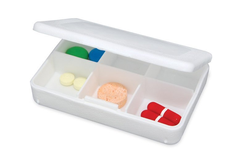 Tablet Tote Pocket Pill Box, Six Compartment