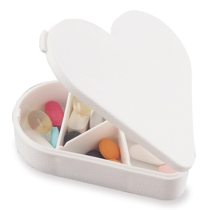 Heart Pill Box, Seven Compartment