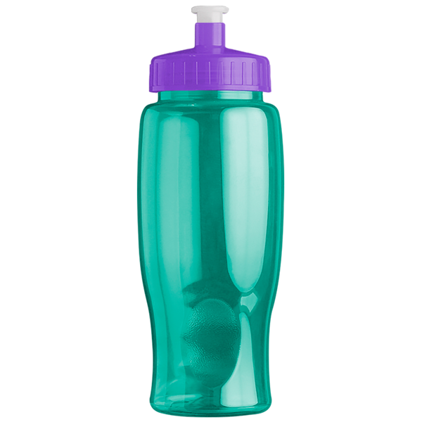 Transparent Grip Poly-Pure Sport Bottle, 27oz. - Push Pull Lid - Free Set Up Charges!