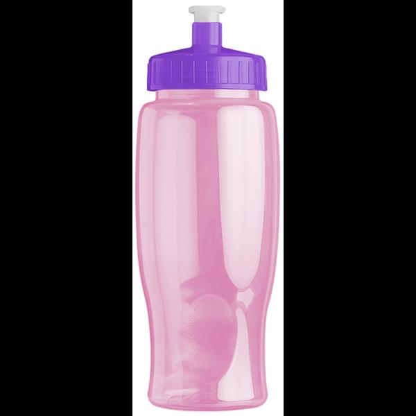 Transparent Grip Pink Poly-Pure Sport Bottle, 27oz. - Push Pull Lid