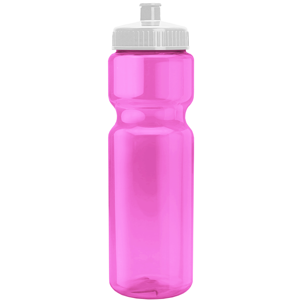 Transparent Pink Sports Bottle, 28oz. - Push/Pull Lid