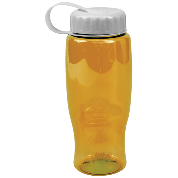 Transparent Grip Poly-Pure Sport Bottle, 27oz. - Tethered Lid