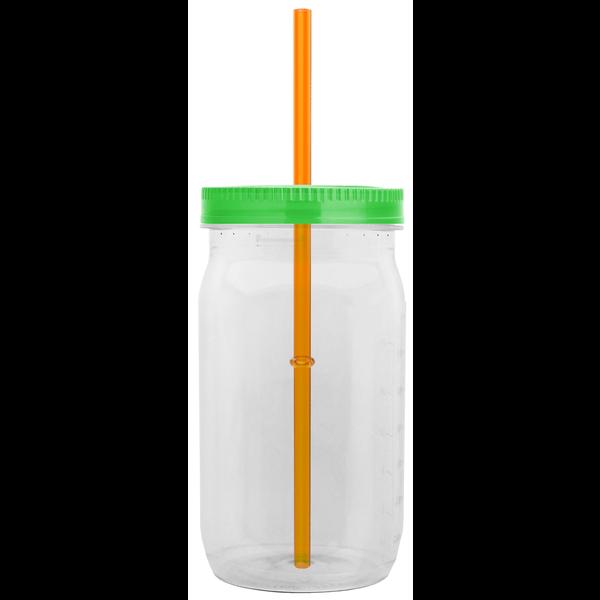 Mason Jar Tritan™ Tumbler w Measurement Scale, 27oz. - Straw Lid