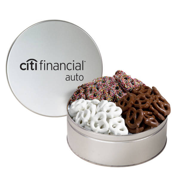 Three Way Gourmet Chocolate Pretzels Tin