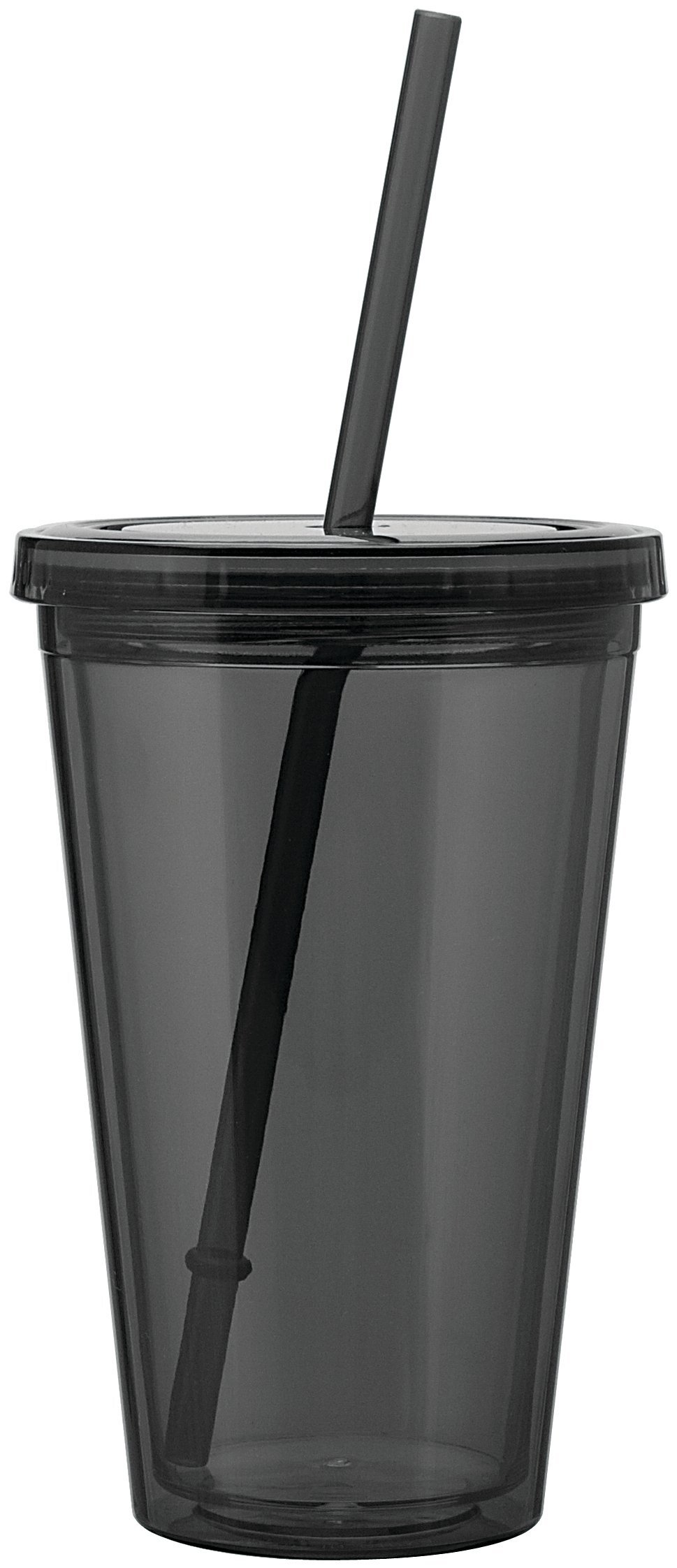 Acrylic Beverage Tumbler with Straw, 16oz.