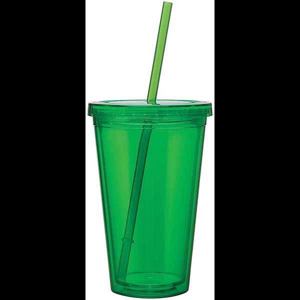 Acrylic Beverage Tumbler with Straw, 16oz.