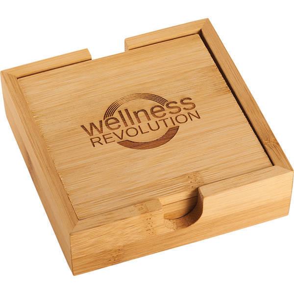 Bamboo Four-Piece Coaster Set