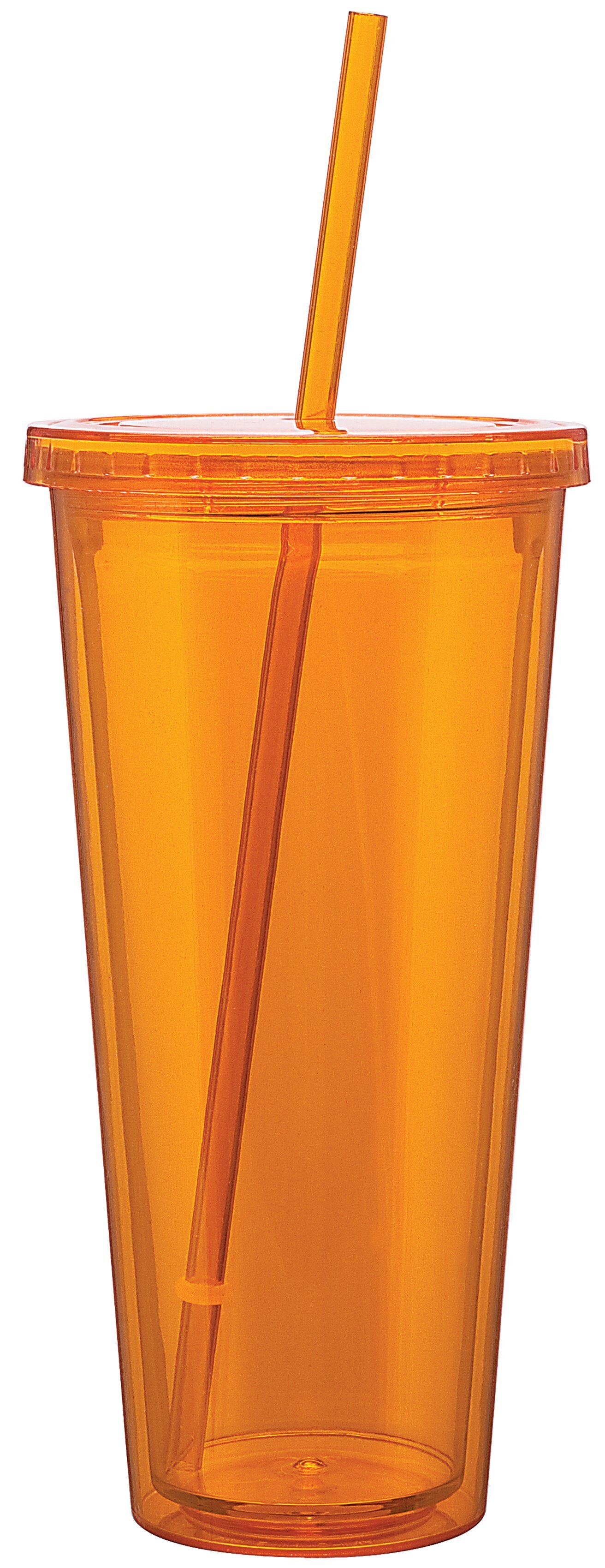 Contempo Acrylic Beverage Tumbler with Straw, 20 oz.