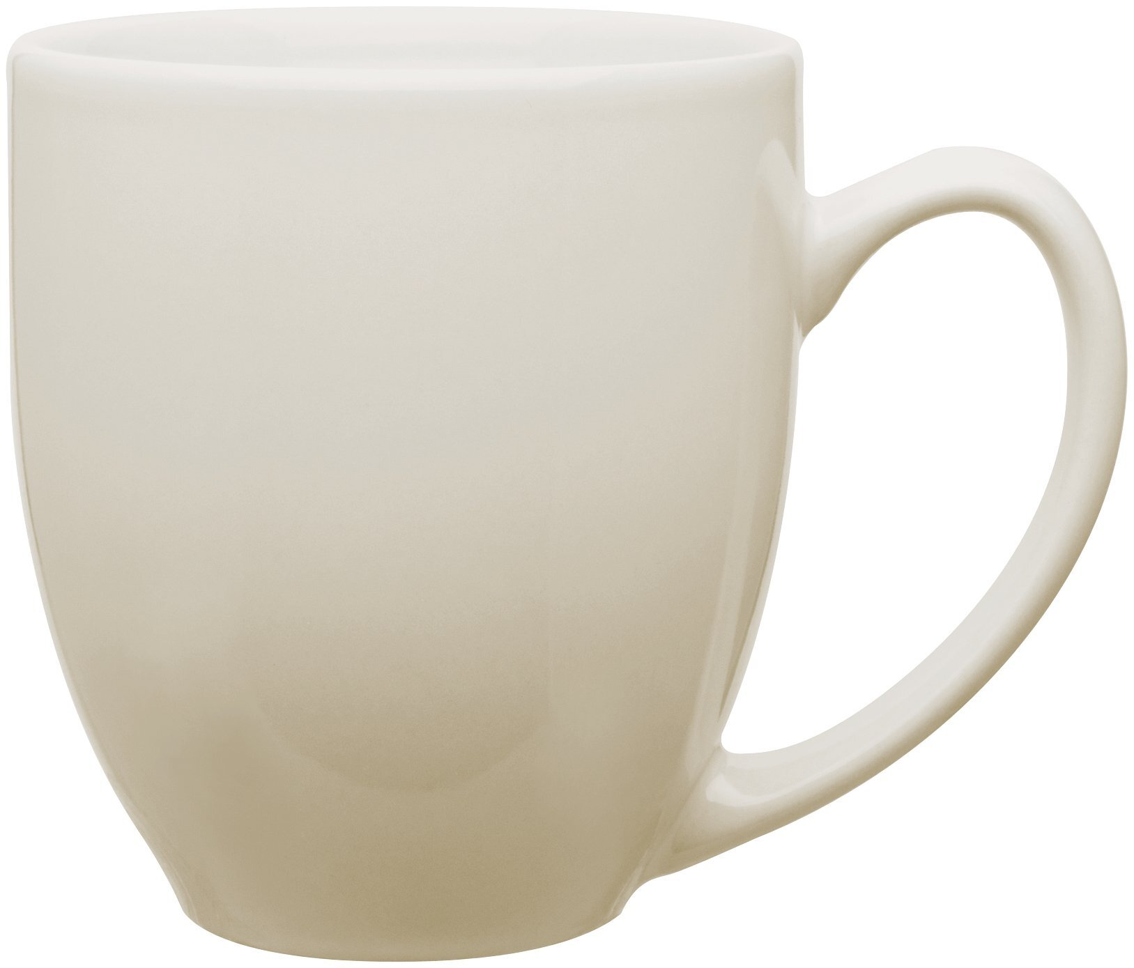 Glossy Ceramic Bistro Mug, 15 oz. - White & Natural