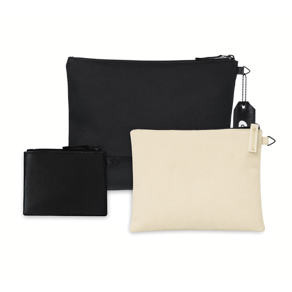 Avery Cotton Zippered 3 Piece Pouch Set