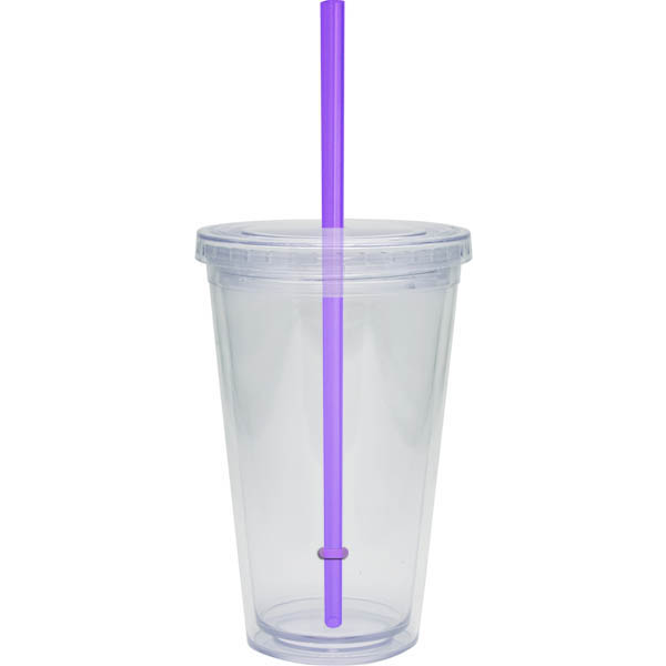 Acrylic Beverage Double Wall Tumbler, 16oz., BPA Free