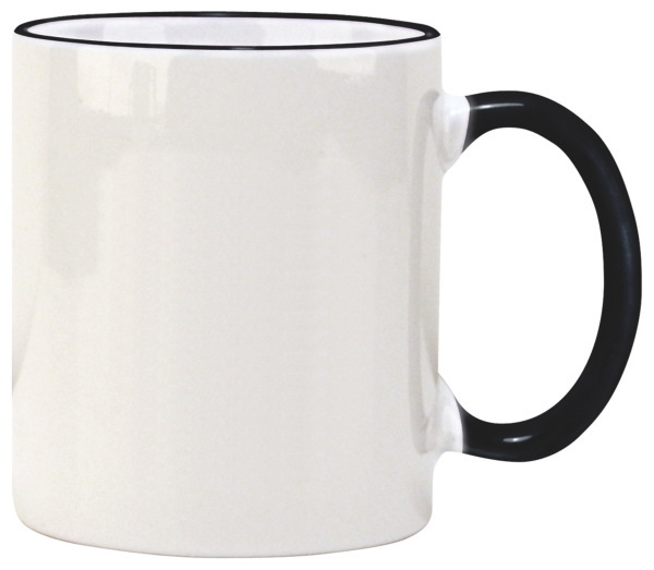 Color Accented Ceramic C Handle Mug, 11oz.