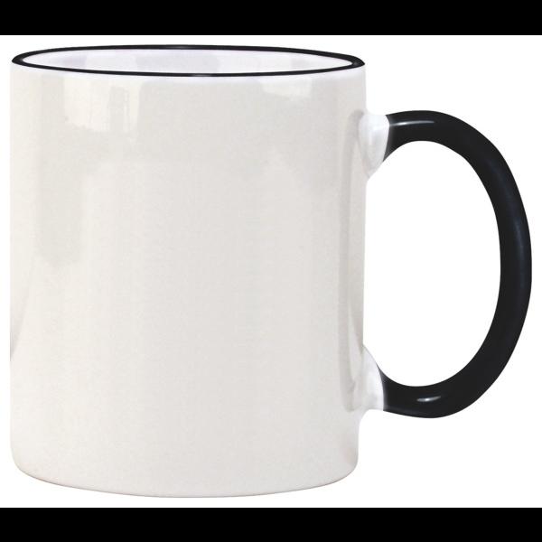 Color Accented Ceramic C Handle Mug, 11oz.