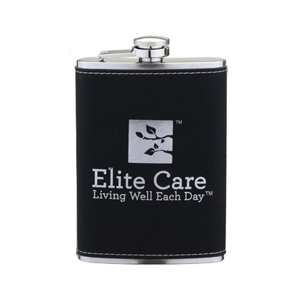 Leatherette Wrapped Flask, 8oz.