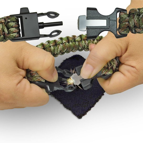 Camo Paracord Bracelet with Whistle & Firestarter