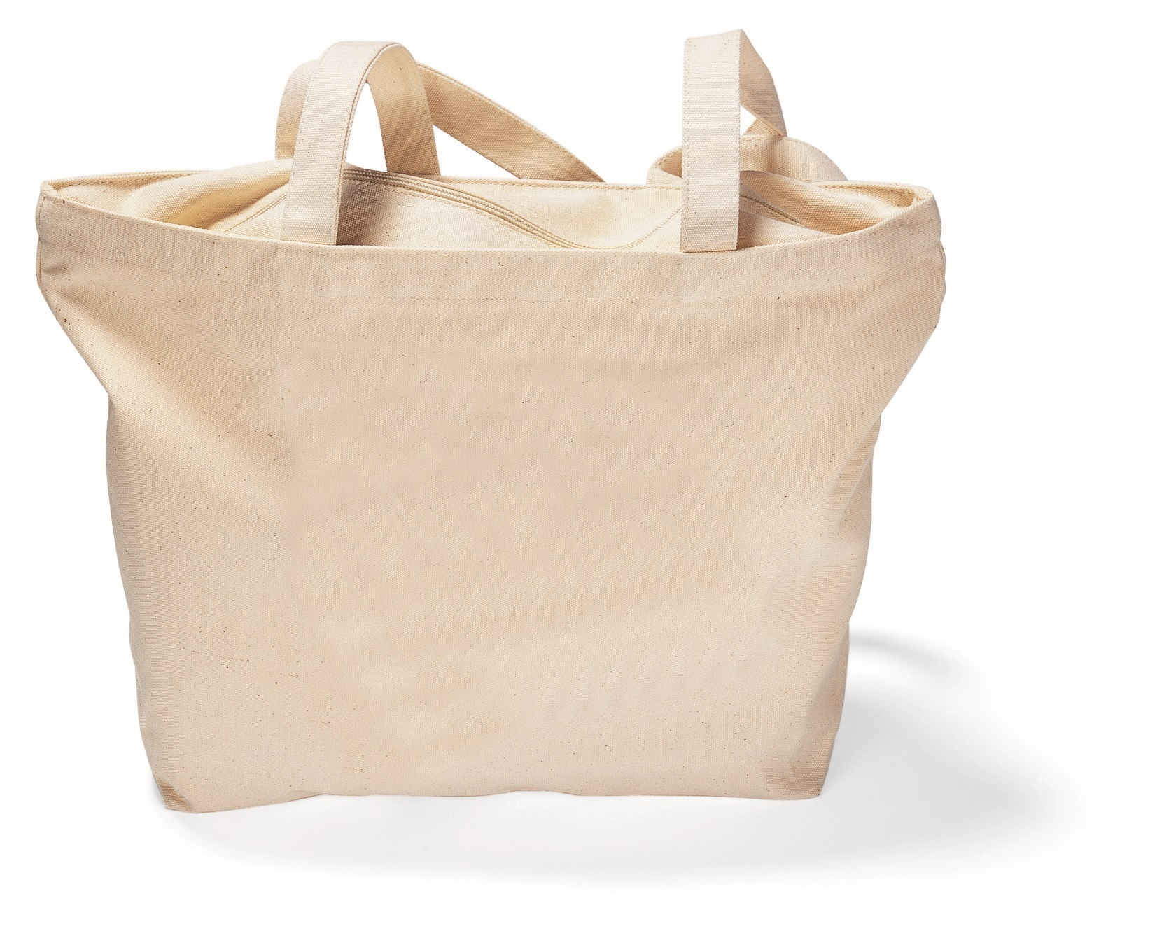 Zippered Cotton Canvas Shoulder Tote