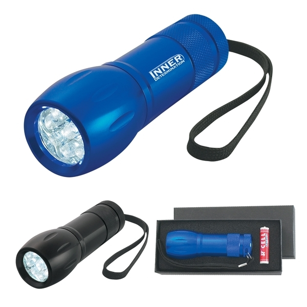 Aluminum 9 LED Torch Light with Strap