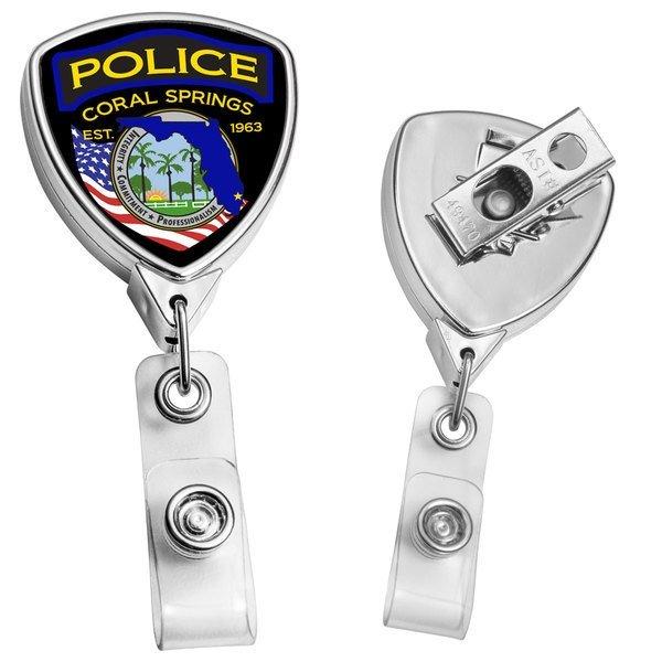 Metallic Finish Shield Retractable Badge Reel, Bull Dog Clip