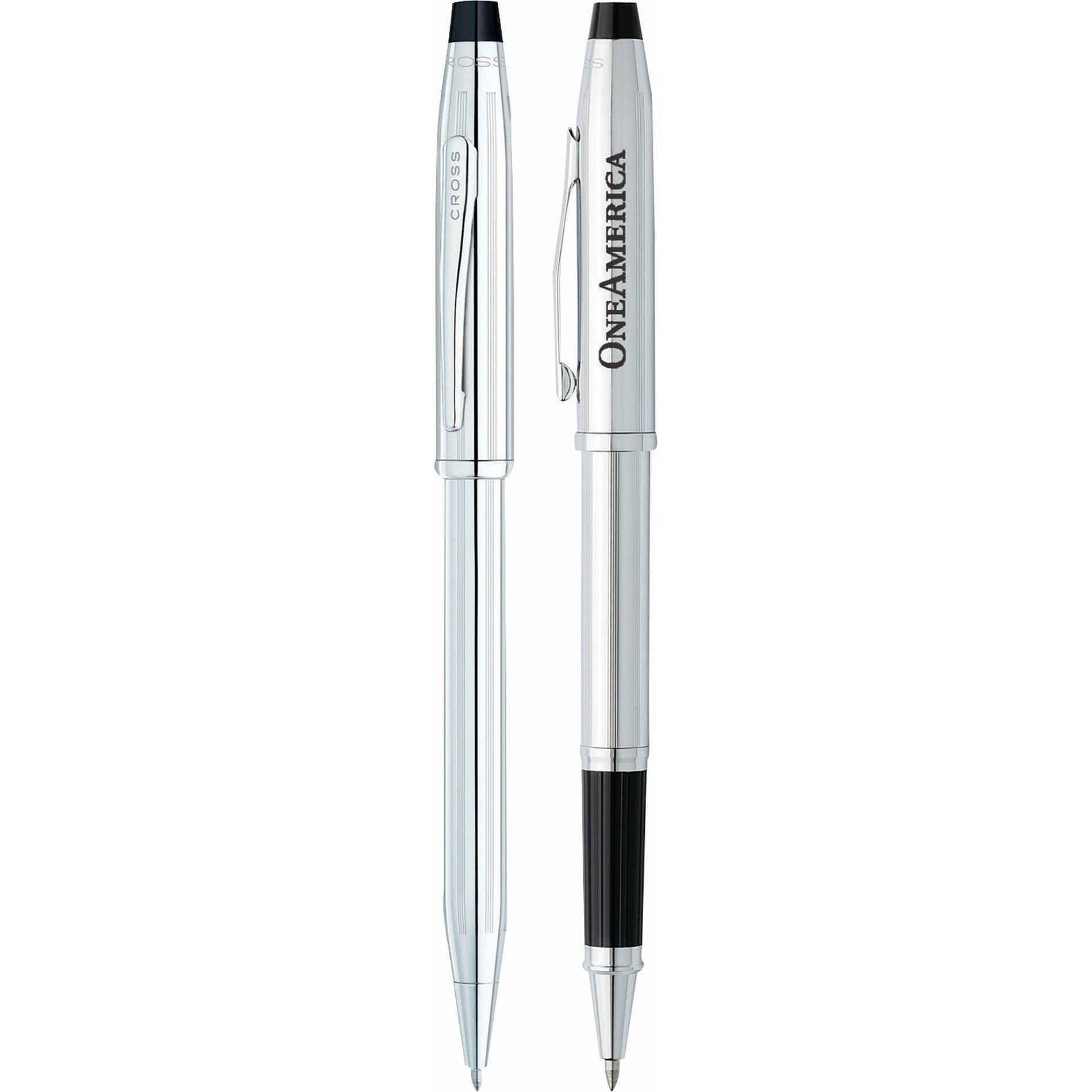 Cross® Century II Lustrous Chrome Ballpoint & Rollerball Metal Gift Pen Set