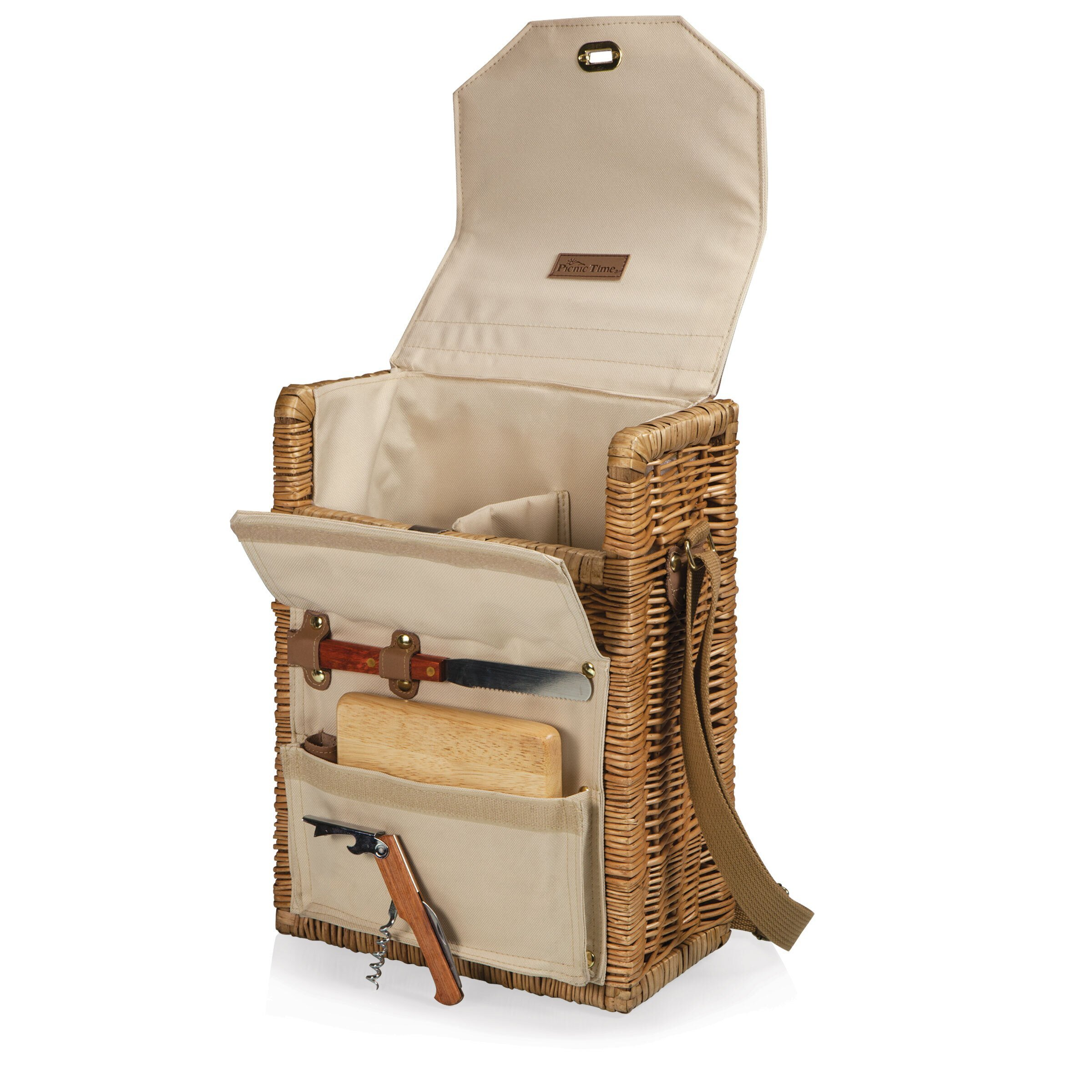 Corsica Two-Bottle Wine Basket & Corkscrew Set