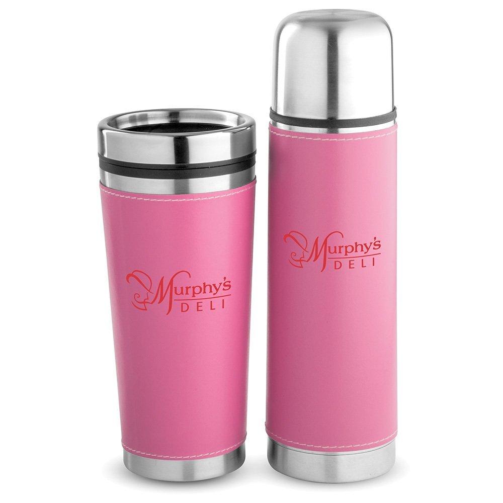 Leatherette Tumbler & Bottle Gift Set