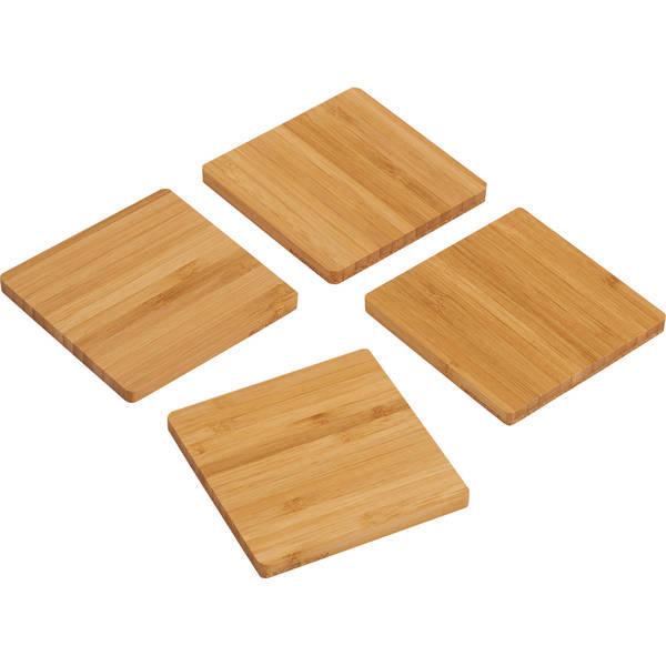 Bamboo & Cork Four-Piece Coaster Set