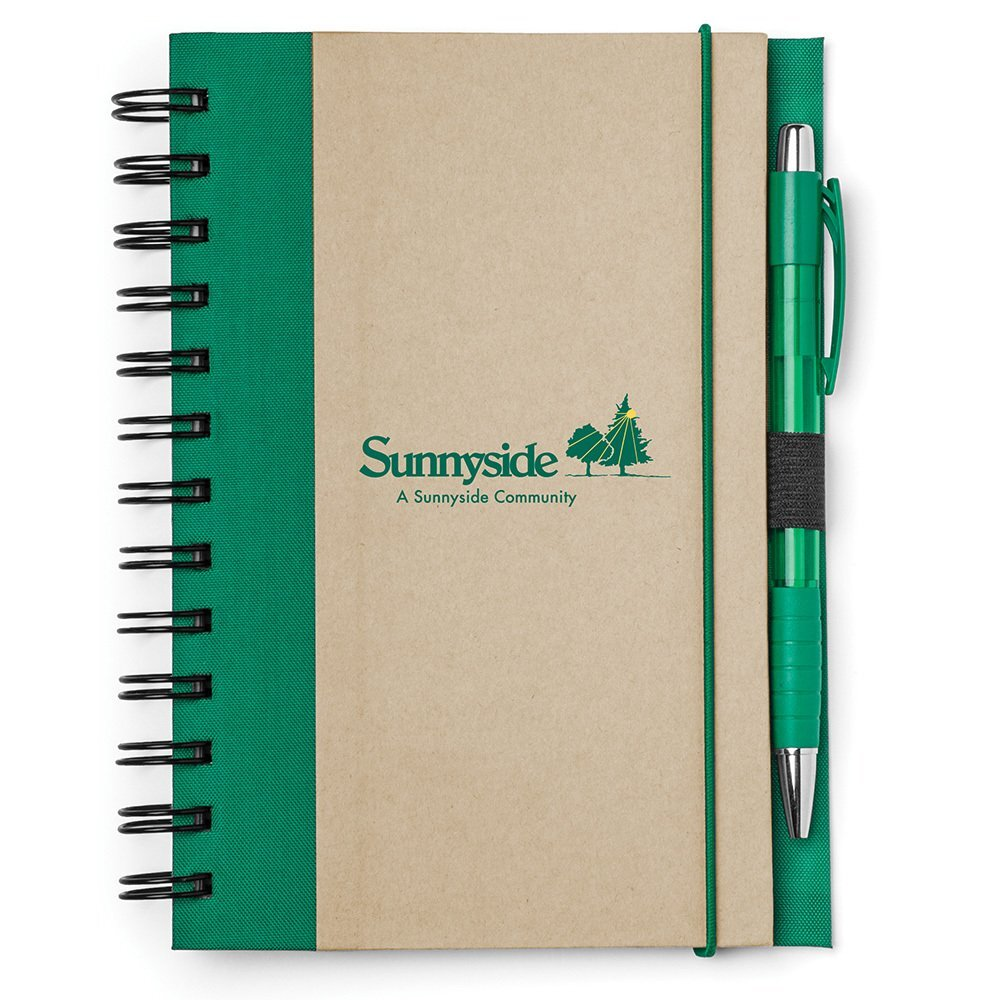 "Recycled Color Spine Spiral Notebook & Pen Set, 5-1/2"" x 7"""