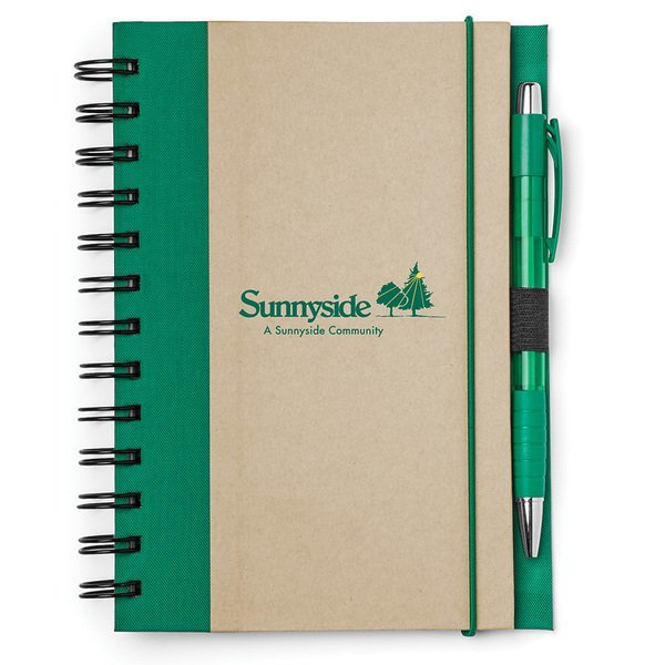 """Recycled Color Spine Spiral Notebook & Pen Set, 5-1/2"""" x 7"""""""